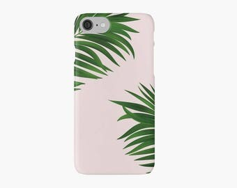 Green Palm Tree iPhone 7 case, iPhone 7 plus case, neon iPhone case, pink iPhone case