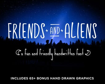 Friends and Aliens Font plus 65+ Bonus Graphics | OTF & TTF | Fun and Friendly Tall Skinny Rounded Handwritten Handmade Typeface