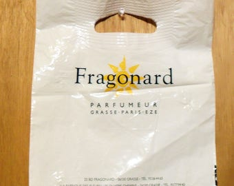 Vintage 1990s Fragonard Perfume Promotional Plastic Shopping Bag Designer Fragrance Collectible