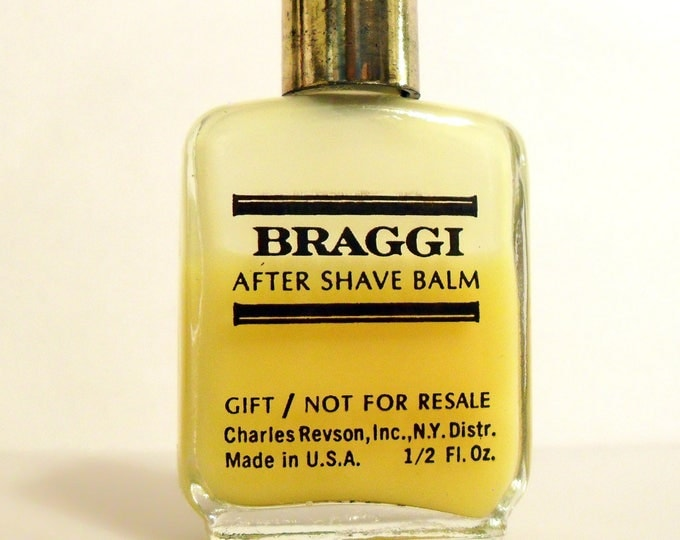 Vintage 1970s Braggi by  Charles Revson Revlon 0.5 oz After Shave Balm Mini Miniature Cologne Perfume Related