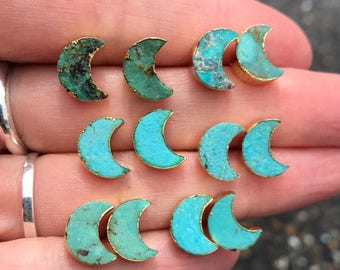 Natural Turquoise Studs earrings, moon earrings, birthstone earrings, turquoise jewelry, boho jewelry