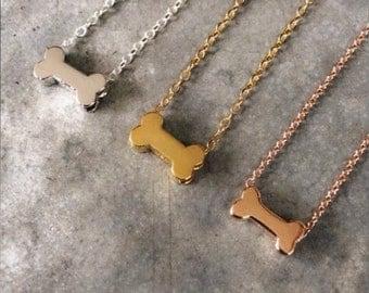 Tiny Silver Dog Bone Necklace