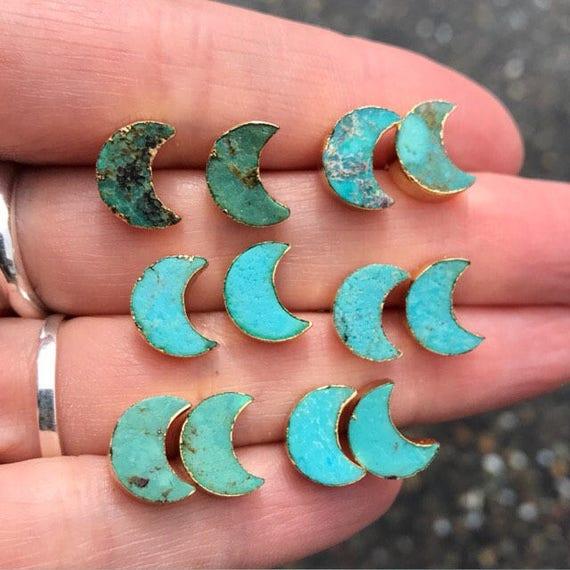 Natural Turquoise Studs earrings, moon earrings, birthstone earrings, turquoise jewelry, boho jewelry