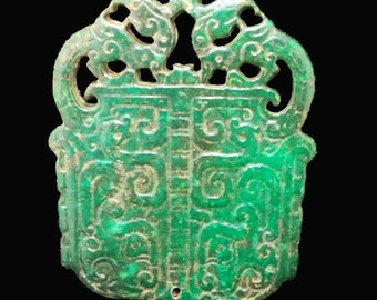 Unique Antique Green Jade Pendant Double Side Phoenix , Blessing Happiness Carved Pendant Amulet Talisman for Your Handmade Jewelry Q