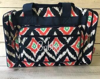 """Personalized Duffel Bag - Kids Bag - Large Overnight Bag - Personalized -  Kids Duffel Bag - Kids Overnight Bag - 17"""" Bag - Ikat"""