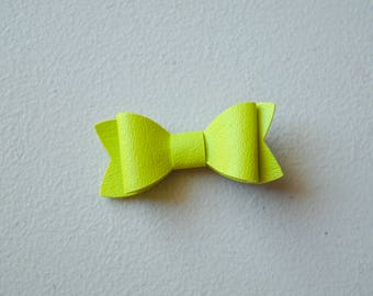 Lime Green Faux Leather Bow
