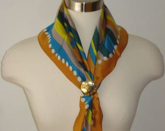 Vintage Striped and Spotted Scarf - Polka Dot Square Scarves - Women's Accessories 1970's Honey