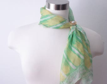 Vintage Green Silk Scarf- Small KAY Scarf - Fashion Accessories