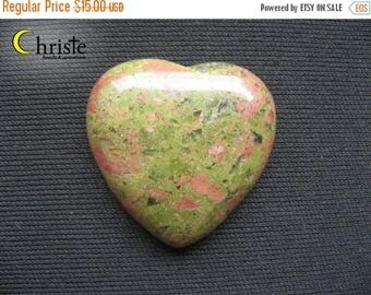 SALE Unakite Natural Green Red heart stone cabochon 27x30x6mm (A)