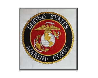 Embroidered United States Marine Core Patch Quiltblock, Military Patch