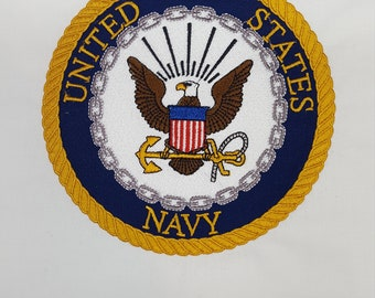 "Embroidered United States Navy 6"" Fabric Quiltblock, Military Patch"