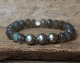 Tahitian Pearl Bracelet, Labradorite Bracelet, Pearl Bracelet, Gemstone Bracelet, Birthstone Jewelry, Stretch Bracelet, Layering Bracelet