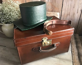 English Leather Hat Box, Top Hat Box, Leather Carry Handle, Brass Lock, Hat Holder
