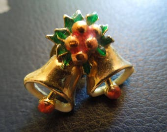 Vintage Christmas Pin.  Bells in Gold Tone with Holly.  Nice Condition.