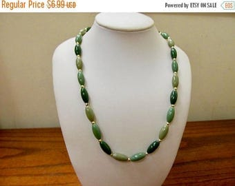 ON SALE Vintage Long Shades of Green Plastic Beaded Necklace Item K # 1168