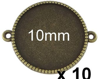 10 blank connector 10mm bronze cabochon