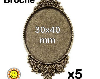 x 5 fancy bronze brooch finding cabochon 30x40mm
