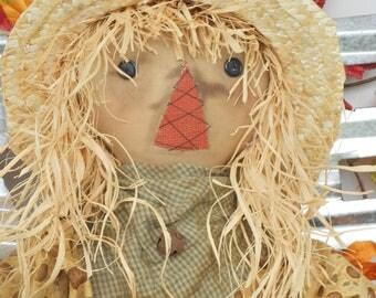 Primitive Scarecrow, Primitive Pumpkin, Scarecrow with Pumpkin, Fall Decoration--tbu 687