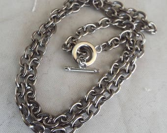"""Steel Silver Cable Chain Unisex Toggle Closure 22"""" long"""