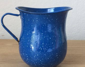 Vintage Blue Speckled Enamelware Milk Pitcher, Farmhouse Graniteware Small Pitcher
