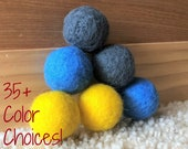 Set of 6 Medium Solid Wool Cat Toys - Six hand-felted colorful wool ball toys for small pets, cats, kittens - Catnip Scent Also Available!