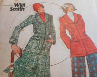 Vintage 1970's Butterick 3854 Young Designer Willi Smith Jacket, Skirt and Pants Sewing Pattern Size 12 Bust 34