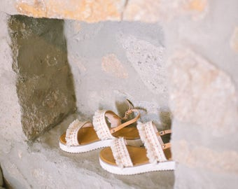 Boho Wedding Sandals. Wedding shoes. Bridal Boho leather sandals. Wedding Flatform Sandals. Minimalist sandals. Beach wedding sandals