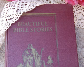 Vintage Bible Story Book. Illustrated Vintage Bible Stories Book. Hardback Bible Stories