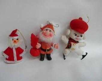 Kitchy Christmas ornaments. Flocked Santa ornaments Flocked mouse ornament. Vintage Christmas ornaments