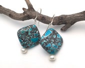 Dyed Blue Magnesite & Real Freshwater Pearl Sterling Drop Earring, drop earring, turquoise lookalike, fake turquoise, dyed magnesite