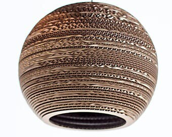 Large sphere lampshade made from recycled cardboard, hanging lampshade, cardboard lamp, pendant lamp