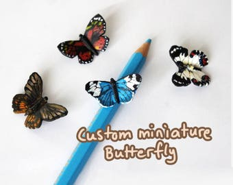 One custom Miniature Butterfly, Polymer clay and acrylics