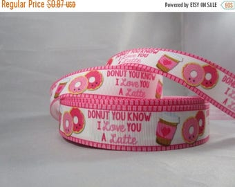 """Dont you know I love you a latte, Coffee lovers, Coffee and donuts, grosgrain ribbon, ribbon by the yard, 1"""" ribbon, RN16106"""
