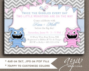 Twins Monster Baby Shower Invitations Monster Baby Shower Invites Printable Invites Twins Baby Shower Invitations Monsters Twin Girl and Boy