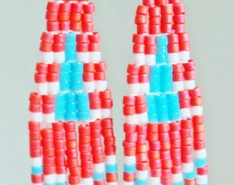 Melon and Turquoise Fringe Earrings
