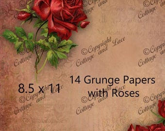 Sale Digital Texture Paper, Digital Grunge Paper with Roses, 14 Grunge Textures, Scrapbook Supplies, Red Roses, Wood, Burlap Textures,  P 88