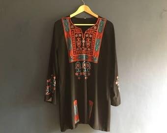 70s Embroidered Kaftan Smock Dress M-L
