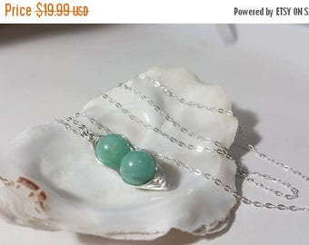 ON-SALE 2 PEAS in a Pod - Green Aventurine Herringbone Necklace - Sterling Silver Necklace, Birthday Gifts, Handmade, Gemstone, Wire Wrapped