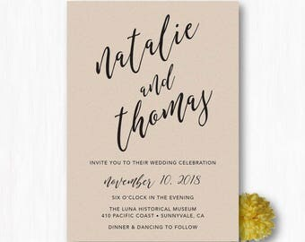 Calligraphy Wedding Invitations - Kraft Invitation Printable Wedding Invitation Modern Wedding Invitation Card - DIY Printable