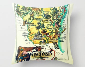 Wisconsin Pillow Cover 18x18, Wisconsin Home Gift,  Illustrated Wisconsin Map, Madison Wisconsin Pillow, WI Gift, Wisconsin Home Pillow