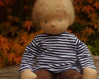Waldorf Doll, Boy, 14 tall, blond hair, Ash (made to order)