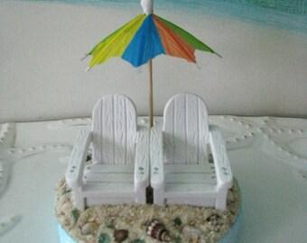Adirondack Chairs on a Beach Wedding Cake Topper