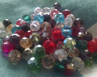 Beads Crystal Faceted Rondelles Multi Color Lot 8mm 72 or More Pieces Per Lot