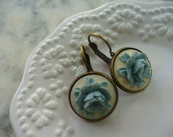Blue Rose, Ivory Cameo, Floral Earring, Flower Earring, Floral Jewelry, Leverback French Earwires, Vintage Cabbage Rose Style, Pierced ear