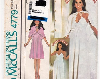 """FF McCalls 4779 Marlo Thomas Sewing Pattern, High Waisted Dress and Capelet, Marlo's Corner Evening Dress, Size 14, Bust 36"""", UNCUT"""