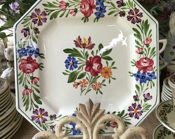 Sarreguemines France Pottery Hand Painted Plate Rusticana Pattern 1950s Country French Decor French Cottage French Farmhouse