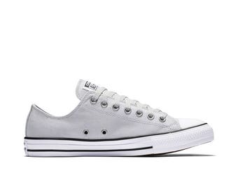 Converse Gray Mouse Low Top Ladies Mens Soft Chambray GlassSlippers w/ Swarovski Crystal Chuck Taylor Rhinestone Bling All Star Sneaker Shoe