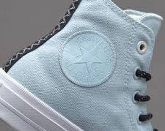 Blue Converse High Top Custom Chuck Taylor II Ice Glacier Polar Blue Buff Shield w/ Swarovski Crystal Rhinestone All Star Bling Sneaker Shoe