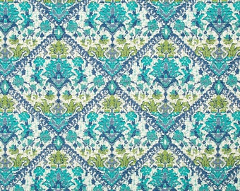 Turquoise Floral Upholstery Fabric   Modern Green Blue Fabric For Furniture    Custom Turquoise Pillow Cover
