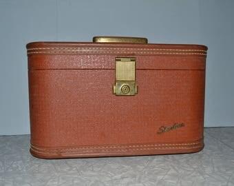 Starline Brown Traincase ~ Makeup Case ~ Vintage Luggage ~ Suitcase ~ Mid Century ~ Travel ~ Epsteam